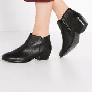 Sam Edelman Petty Black Leather Ankle Bootie